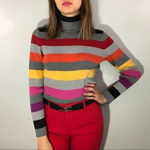 90's striped turtleneck